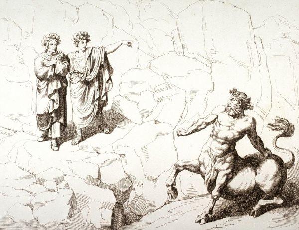 Virgil và Dante gặp nhân mã. (Ảnh qua art.famsf.org)