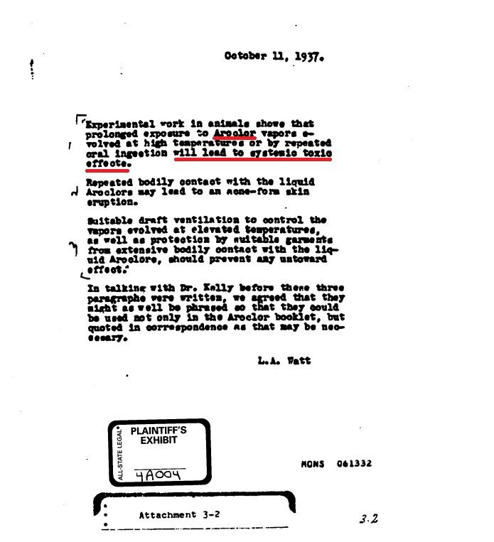 Tài liệu nội bộ của Monsanto cho thấy hãng đã biết PCB (Aroclor) là cực độc cho con người từ năm 1937 (nguồn: chemicalindustryarchives.org)