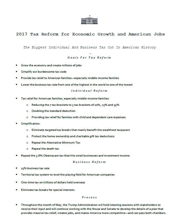 Kế hoạch cải tổ thuế đầu tiên của Nhà Trắng