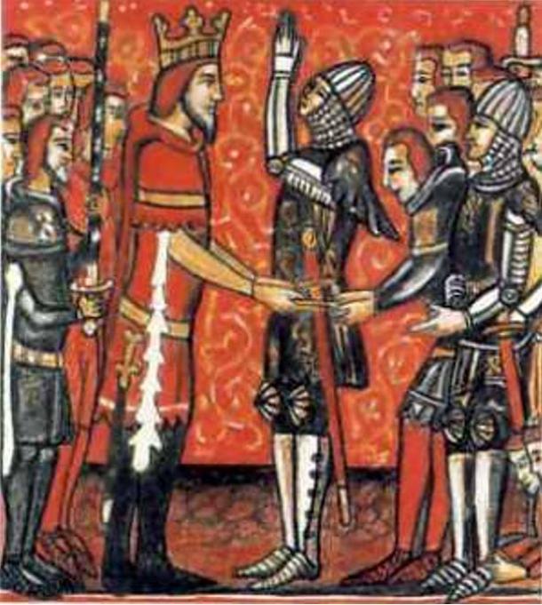 Roland (bên phải) nhận gươm báu Durandal từ tay của vua Charlemagne (bên trái). (Ảnh: Wiki)