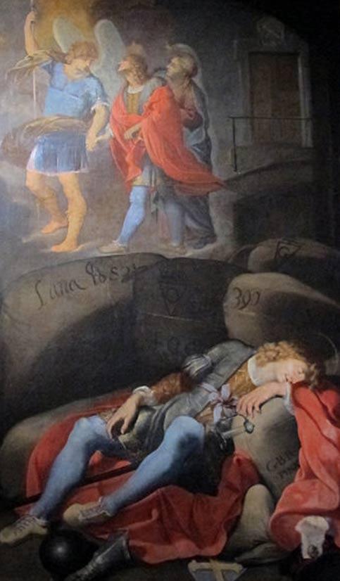 Tổng lãnh Thiên Thần Michael quan sát San Galgano lúc ông nghỉ ngơi trong hang động. Tác phẩm được trưng bày ở Bảo tàng Diocesan. (Ảnh: Wikimedia)