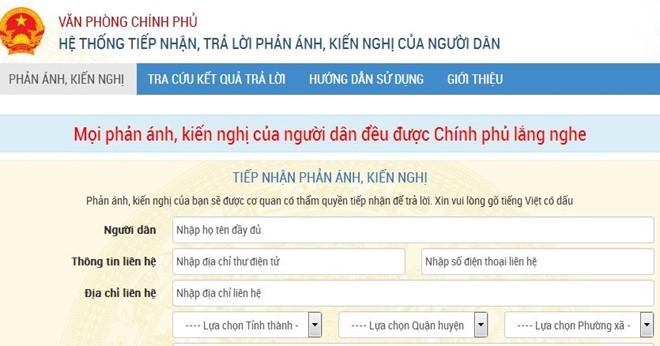 Tran web tiếp nhận, trả lời phản ánh người dân của Chính phủ nguoidan.chinhphu.vn sẽ hoạt động từ hôm nay, 4/4/2017. (Ảnh chụp màn hình)
