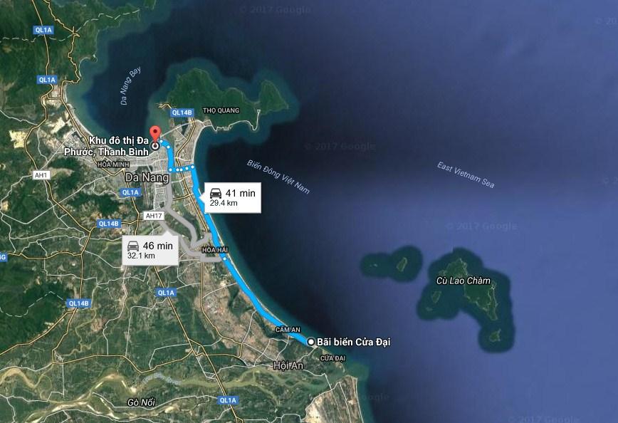 Khu đô thị Đa Phước (Đà Nẵng) rất gần bãi biển Cửa Đại, khoảng 30km tính theo đường bộ. (Ảnh vệ tinh/Google Maps)