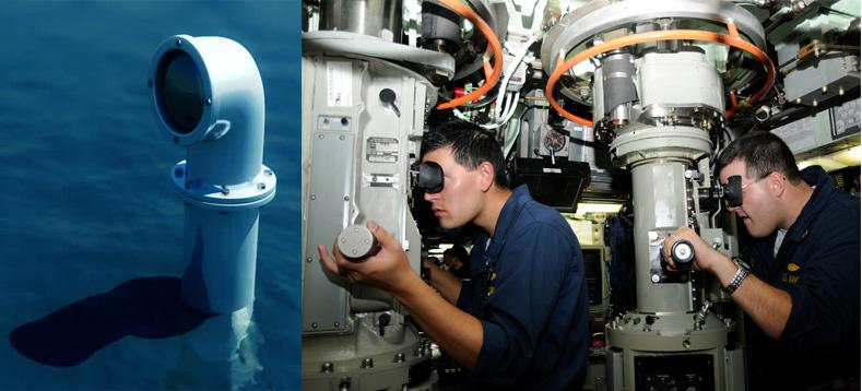 Kính tiềm vọng được trang bị ở tàu ngầm, cảnh các thủy thủ đang quan sát hình ảnh qua kính tiềm vọng (ảnh: shutterstock, pinterest)