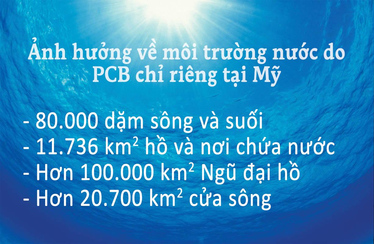 ảnh hưởng về môi trường nước do PCB chỉ riêng tại Mỹ