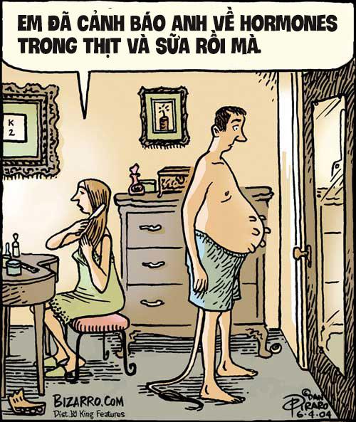 Tranh biếm họa về ảnh hưởng của rGBH đối với sức khỏe con người (ảnh: Bizopro.com)