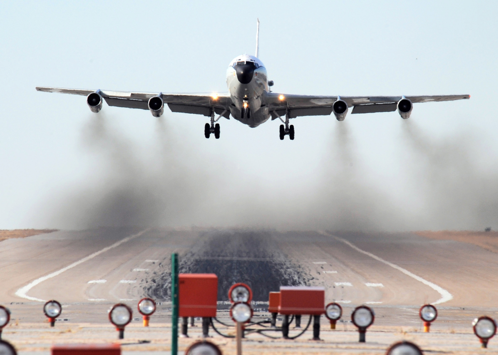 Throughout the afternoon, an WC-135W Constant Phoenix aircraft performs touch 'n go landing exercises Feb. 12 at Offutt Air Force Base, Neb. (U.S. Air Force photo/Josh Plueger)
