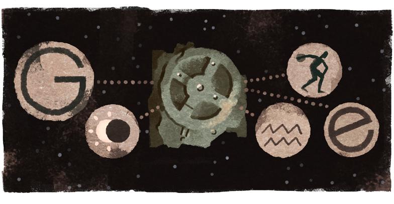 """Hình vẽ của Google kỷ niệm 115 năm ngày tìm ra cỗ máy Antikythera. """"Một tàn tích rỉ sét mở ra cả bầu trời kiến thức và cảm hứng,"""" tờ Express của Anh ghi nhận."""
