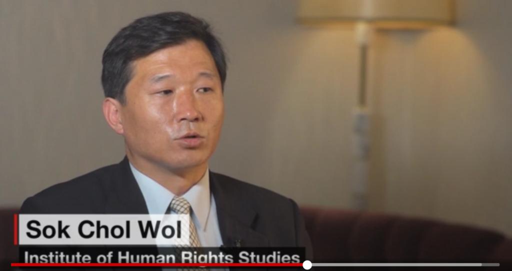 Sok Chol Wol, quan chức Viện Nghiên cứu Nhân Quyền Bắc Triều Tiên trả lời phỏng vấn báo CNN (Ảnh chụp màn hình)