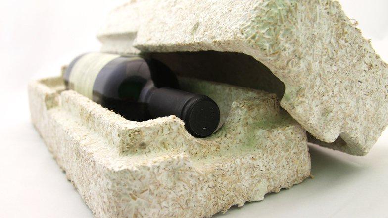 Một hộp đựng rượu vang được tạo từ vật liệu sợi nấm (ảnh: dezeen.com)