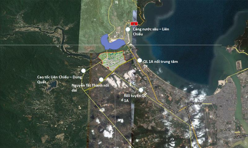 Vị trí dự kiến xây dựng cảng Liên Chiểu.