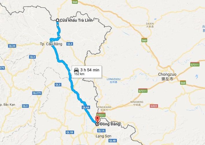 Do vị trí nằm sát biên giới Việt-Trung, tỉnh Cao Bằng nhận định tuyến đường cao tốc Đồng Đăng - Trà Lĩnh có ý nghĩa đặc biệt quan trọng trong KT-XH, quốc phòng - an ninh trên địa bàn tỉnh. (Hình ảnh: Google Maps)