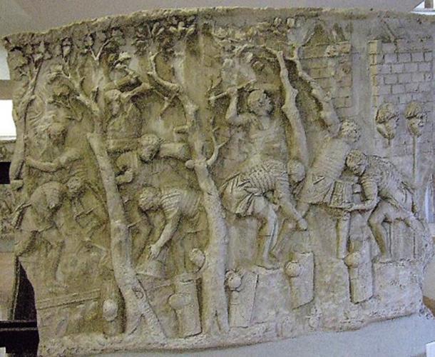 Một tác phẩm cho thấy người La Mã chặt cây để làm đường (ảnh: CC BY SA 3.0)