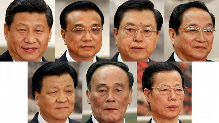 7 Ủy viên Thường vụ Bộ Chính trị Trung Quốc hiện tại từ trái sang: Tập Cận Bình, Lý Khắc Cường, Trương Đức Giang, Du Chính Thanh, Lưu Vân Sơn, Vương Kỳ Sơn và Trương Cao Lệ