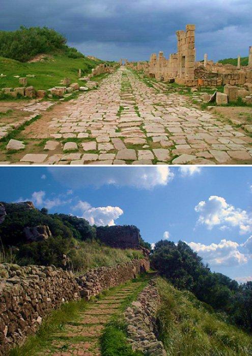 2 loại đường La Mã cổ đại: ảnh trên là ở Leptis Magna, Libya (ảnh: CC BY-SA 3.0) ảnh dưới là ở Santa Àgueda, Tây Ban Nha (ảnh: Public Domain)