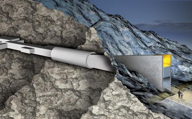 Hình ảnh 3D của hầm hạt giống toàn cầu Svalbard. (Ảnh: Cultures Nordiques.)