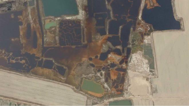 Bức không ảnh vùng ô nhiễm các khu công nghiệp Bắc Trung Quốc.