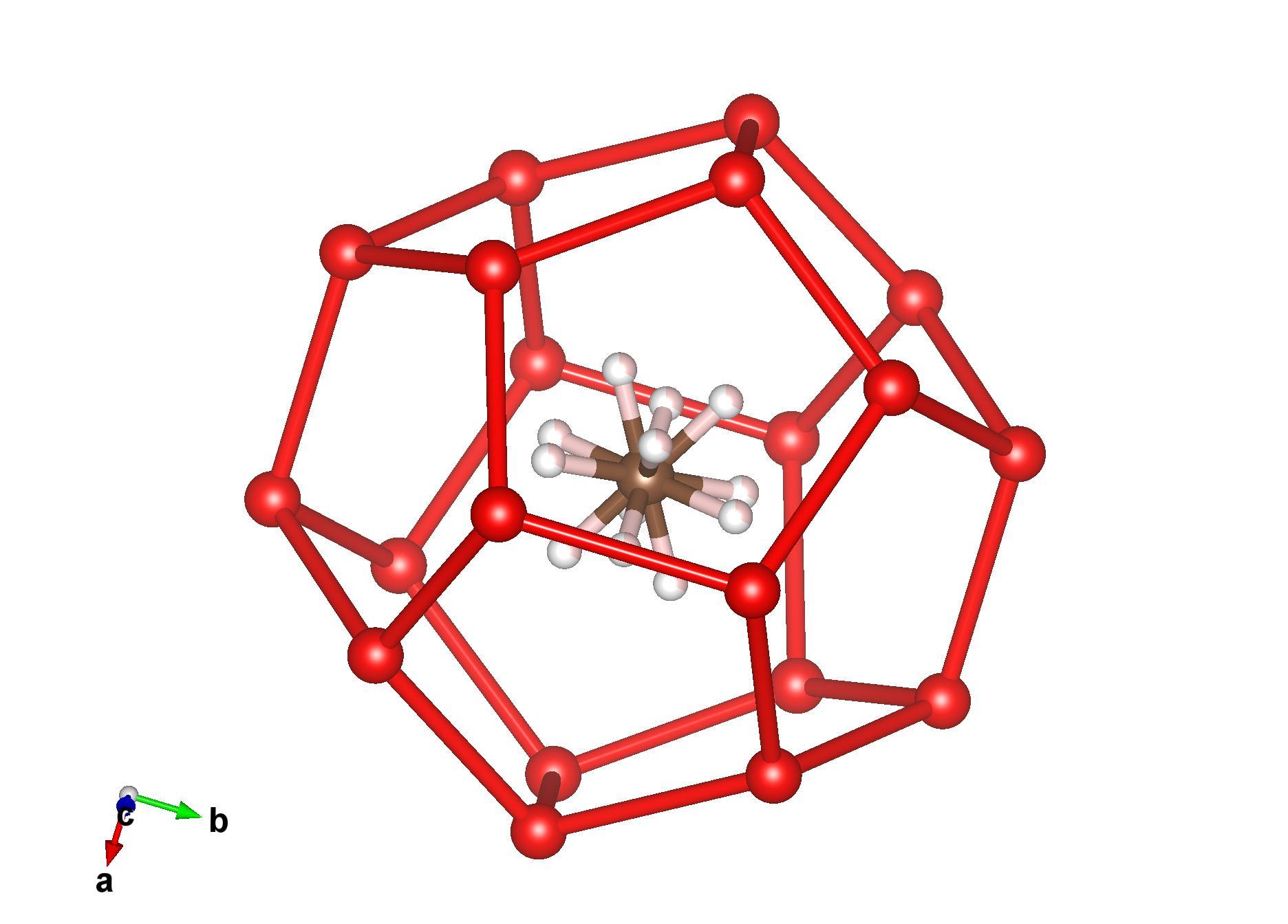 Phân tử khí mêtan bị nhốt giữa các phân tử nước (ảnh: VESTA)