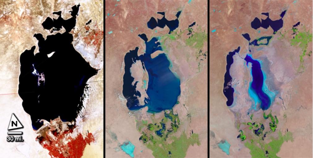 Biển Aral đã thu hẹp đáng kể. Ảnh bên trái là hồ năm 1977, ảnh giữa là năm 1998 và ảnh phải là năm 2010 (ảnh: NASA/USGS)