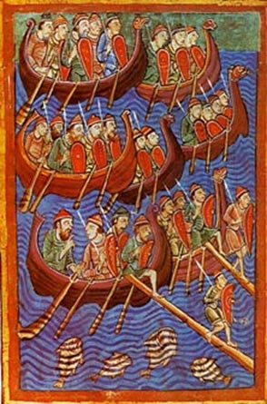 Theo sử sách, người Viking đã tiến hành rất nhiều vụ cướp bóc trên đất của Carolingian từ thế kỉ 8 tới thế kỉ 10 (tranh minh họa từ thế kỉ 12, ảnh: Wiki)