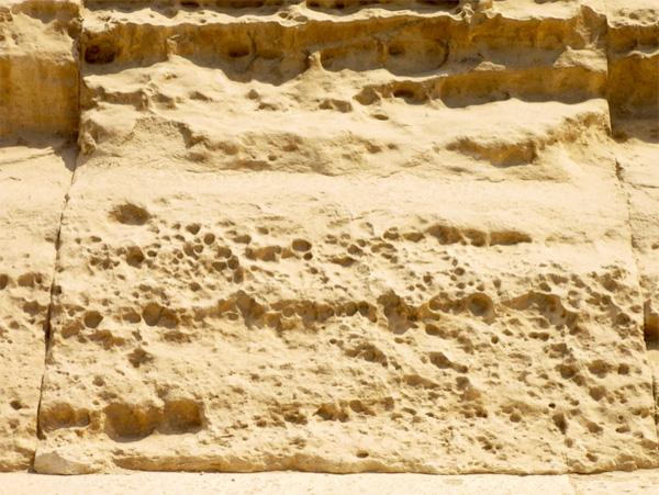 Những lỗ li ti do xói mòn của nước biển, trên những tảng đá nhẵn ở mặt ngoài Đại Kim tự tháp. Để đạt đến kích cỡ này, phải mất hàng thiên niên kỉ, rồi sau đó vài thiên niên kỉ nữa để gió làm phẳng chúng tới mức gần như không thấy rõ. Lấy ví dụ cụ thể hơn, để xói mòn loại này ăn đi 25cm bề mặt đá vôi, cần khoảng 10.000 năm.(ảnh:gizaforhumanity.org)
