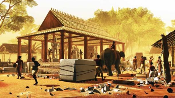Xưởng làm đá thời kì đầu Angkor. (Ảnh: Tom Chandler và Brent McKee - ĐH Monash)