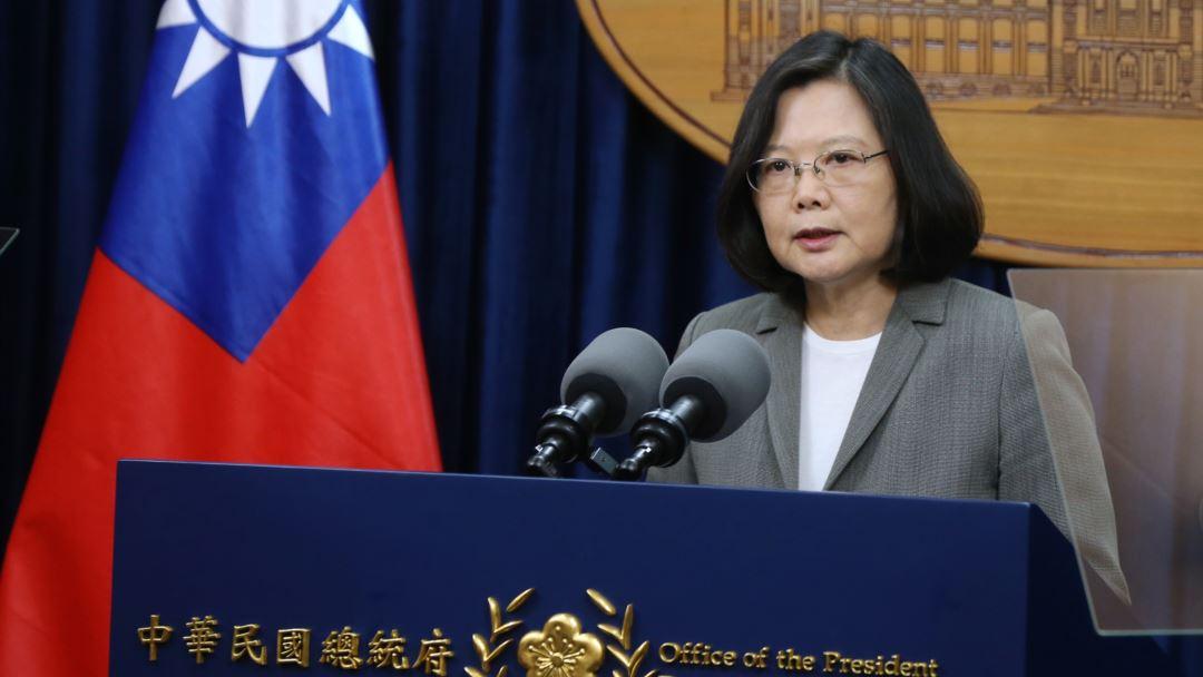 """Tổng thống Đài Loan Thái Anh Văn tuyên bố """"Chúng ta sẽ không nhượng bộ dưới bất cứ sự uy hiếp nào!"""" (Ảnh: Văn phòng Chính phủ Đài Loan)"""