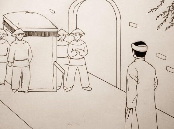 Đăng Đạo cùng bạn bè lên kinh thành chơi tết Nguyên tiêu, đi qua chùa Báo Thiên liền bắt gặp một chếc kiệu song loan dừng lại trước cổng chùa. (Tranh minh họa: Trí Thức VN)
