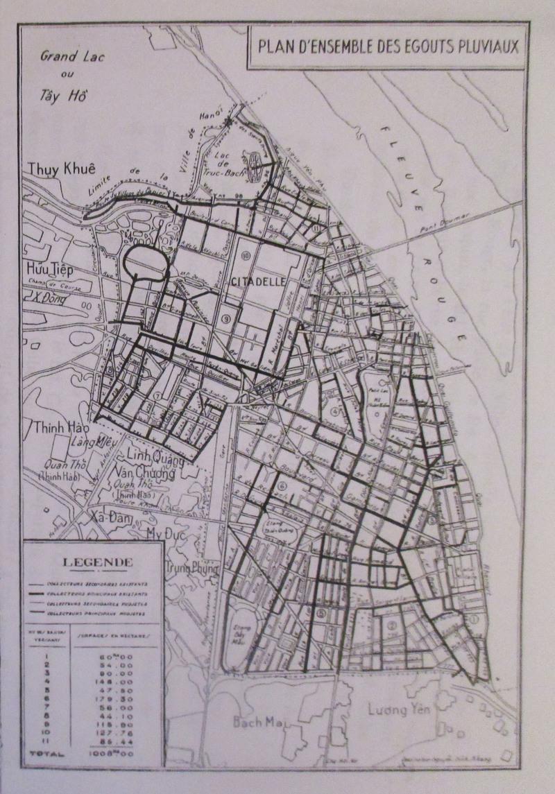 Bản đồ cống rãnh Hà Nội, 1939 (ảnh: Michael Vann)