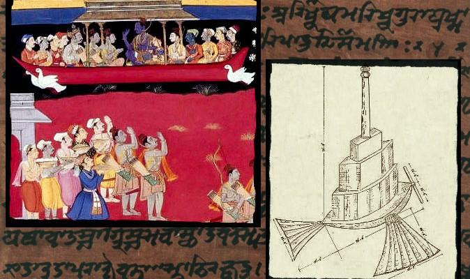 Trái: Rama được chào đón khi quay về Ayodhya trên chiếc tàu bay Pushpak Vimana. Phải: hình vẽ chiếc tàu bay Shakuna Vimana – với đôi cánh và đuôi, được vẽ năm 1923 tại Ấn Độ. Nền: một đoạn chữ Phạn (Ảnh: Wiki)