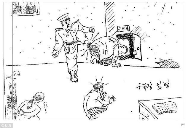 Tra tấn: Bức vẽ của một cựu cai ngục Bắc Hàn gửi lên Liên Hiệp quốc, mô tả một người cai ngục đang ép tù nhân chui qua một lỗ nhỏ của bức tường (Ảnh: LHQ)