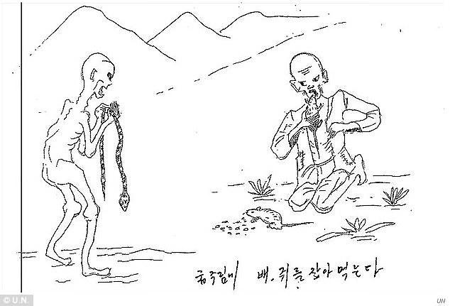"""Bức hình mô tả cảnh tù nhân phải tìm rắn, chuột, các loạt động vật để ăn. Câu mô tả bằng tiếng Hàn là: """"Để không chết đói, hãy đi bắt rắn, chuột mà ăn""""."""