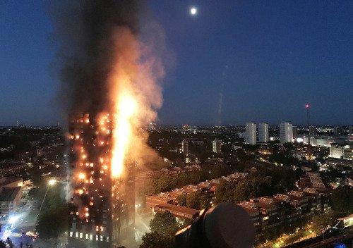 (Hình ảnh vụ hỏa hoạn tại tòa nhà chung cư 27 tầng)