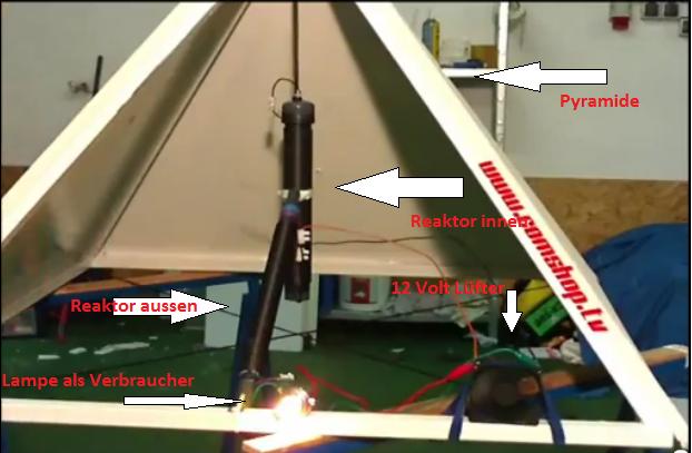 Máy phát điện miễn phí từ mô hình kim tự tháp của Thomas Trawöger (ảnh: youtube)