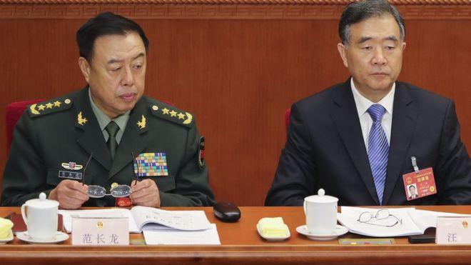 Tướng Phạm Tường Long (trái) Phó Chủ tịch Phó Chủ tịch Quân ủy Trung ương của Giải Phóng Quân Trung Quốc (Ảnh: Getty)