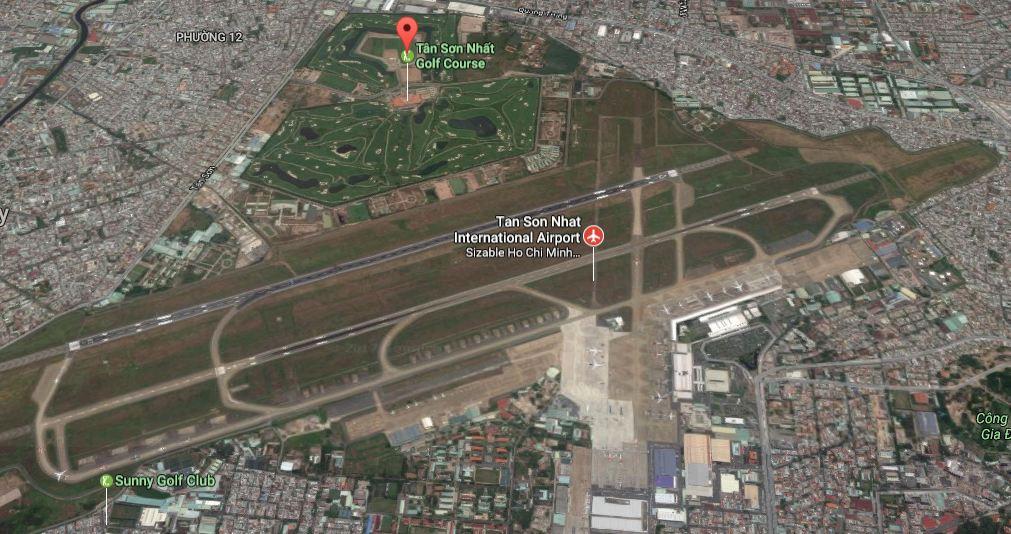 Hình ảnh sân golf bên trong sân bay Tân Sơn Nhất (Ảnh: Google Maps)