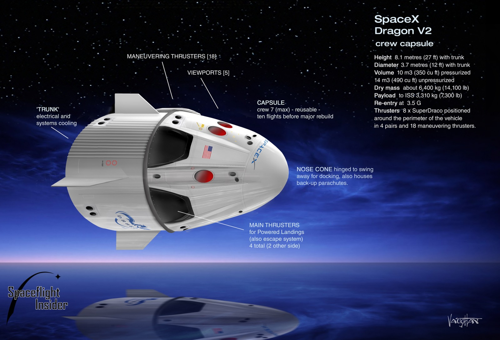 Tàu vũ trụ Dragon 2 có thể chở người (ảnh: SpaceX)