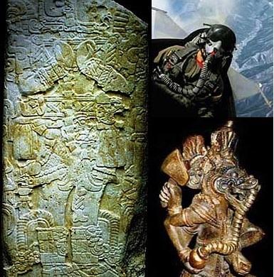 So sánh ảnh của trên bia đá tại Tikal, Peru với một phi công (ảnh: pacal.de)