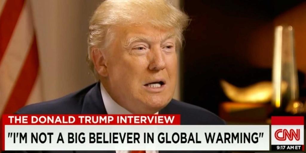 Tổng thống Mỹ là một trong những người không tin vào lập luận rằng hoạt động của con người là nguyên nhân chính khiến cho khí hậu của trái đất thay đổi, và ông không ngại nói về điều đó. (Ảnh từ video phỏng vấn của CNN)