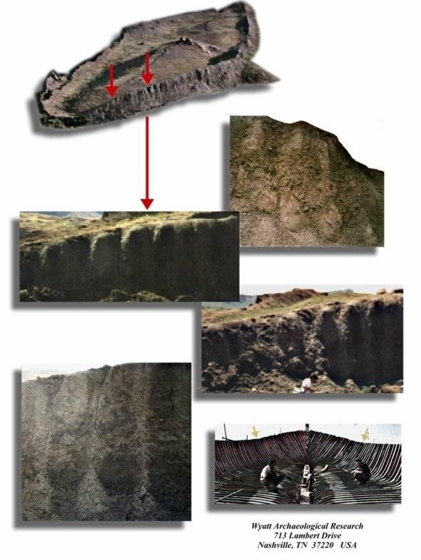 Dấu vết những thanh sườn gỗ hóa thạch bên mạn tàu.