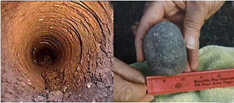 Trái: lỗ khoan dò. Phải: phân động vật hóa thạch.