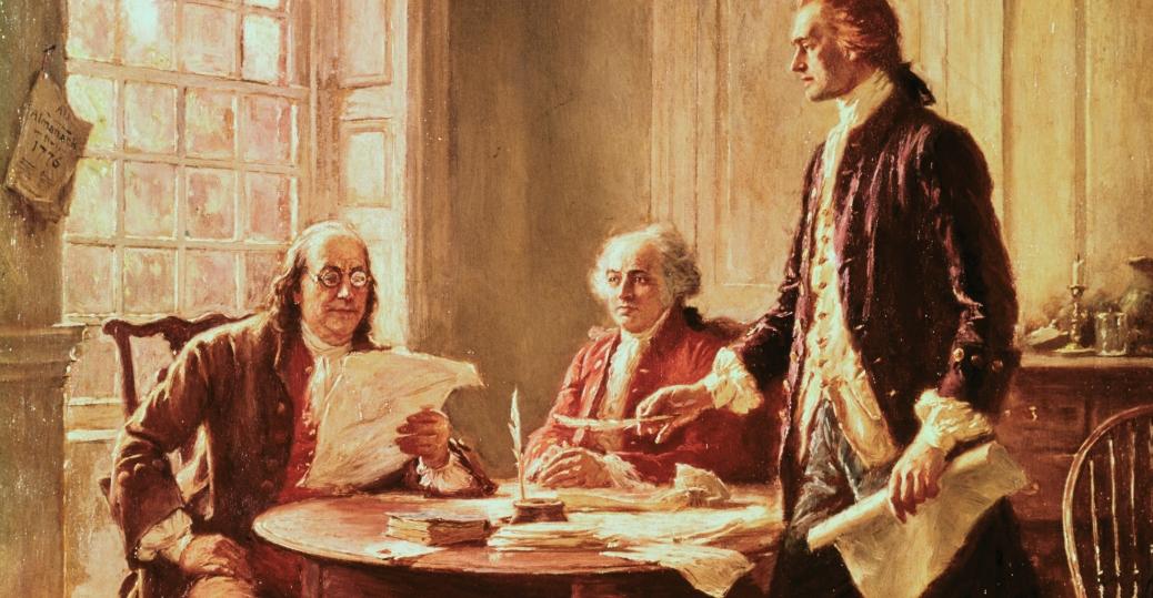 Tranh minh họa Benjamin Franklin, John Adams và Thomas Jefferson soạn thảo tuyên ngôn độc lập.