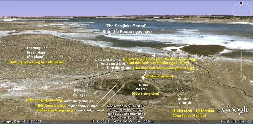 Ảnh chụp vệ tinh các phế tích còn sót lại của thành phố Atlantis tại Pampa Aullagas (ảnh: atlantisbolivia.org)