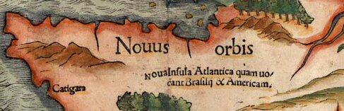 """Chi tiết bản đồ của Münster chỉ rằng """"Thế giới Mới"""" là """"Đảo Atlantic"""", cũng được biết đến như Brasil và Mỹ"""" (ảnh: atlantisbolivia.org)"""