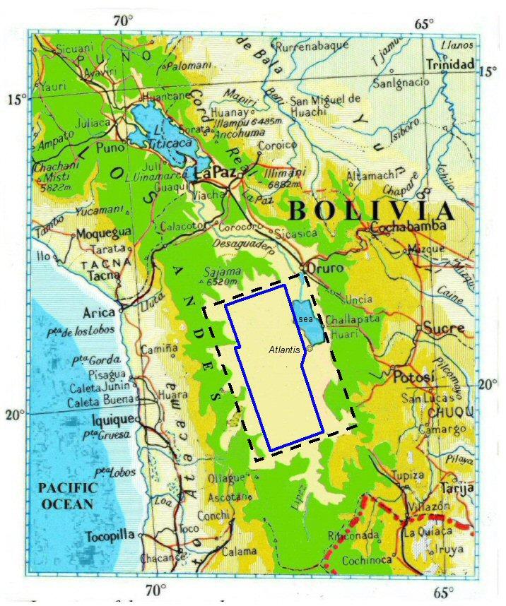 Nét đứt thể hiện bình nguyên Altiplano ở Bolivia, có diện tích 3000x2000 stade (ảnh: atlantisbolivia.org)