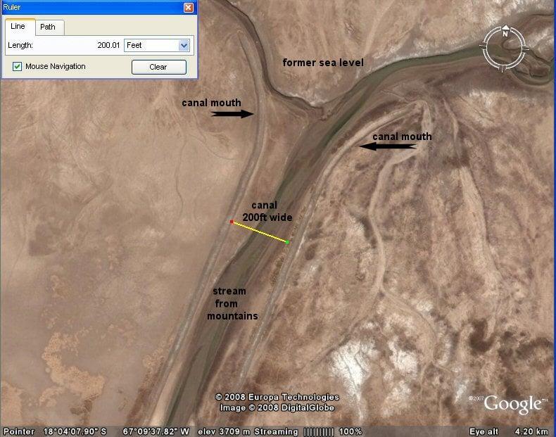 Ảnh chụp từ vệ tinh kênh nước kết nối bình nguyên Altiplano đến biển (hồ Poope) (ảnh: atlantisbolivia.org)