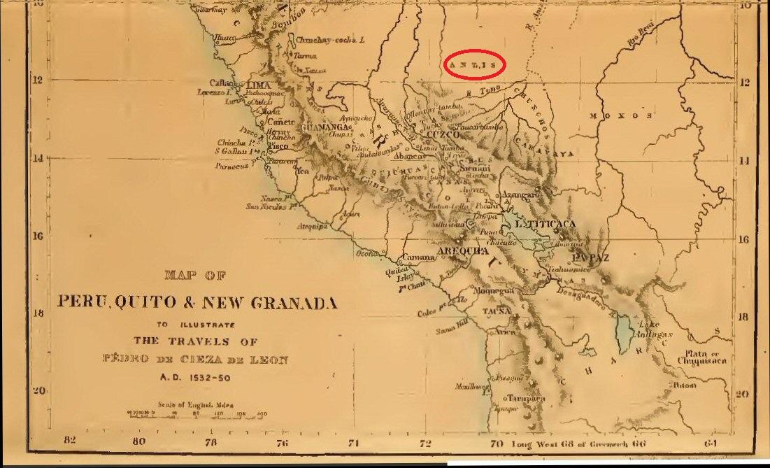 """Bản đồ chỉ vị trí của """"Antis"""" ở Peru tại thời điểm người Tây Ban Nha đến chiếm đóng Nam Mỹ (ảnh: atlantisbolivia.org)"""