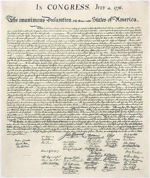 Bản tuyên ngôn độc lập Hoa Kỳ 4/7/1776, lưu giữ tại Thư viện Quốc hội Mỹ