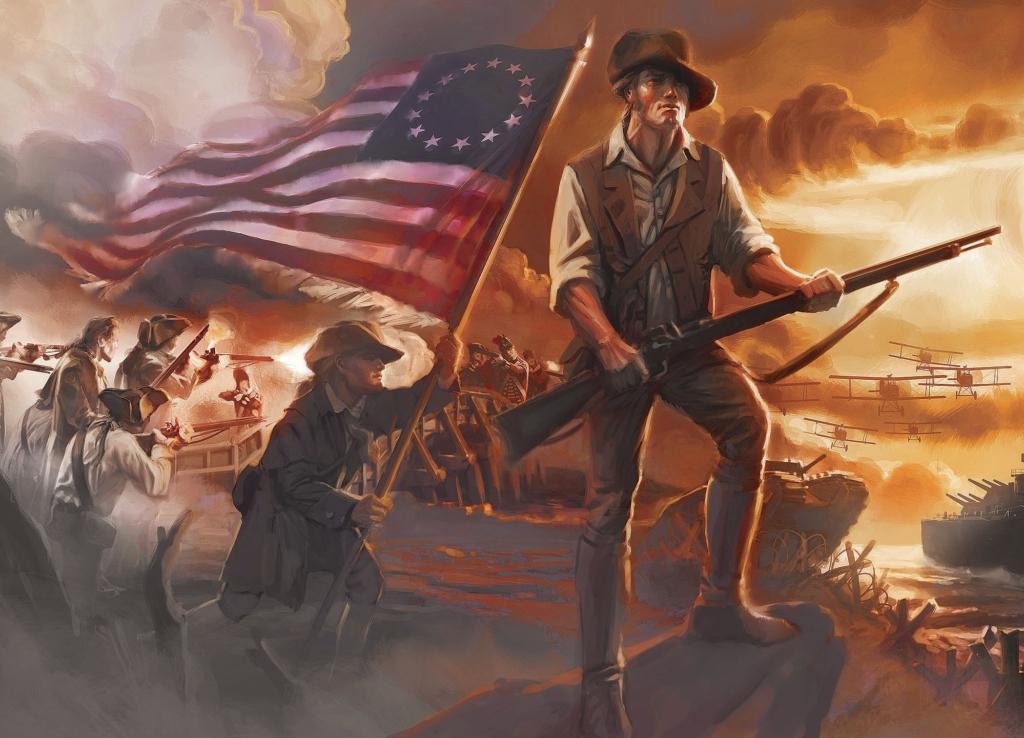 Bức tranh tường tại Bảo tàng Tự do (Mỹ), mô tả một chiến sĩ lực lượng quân lục địa