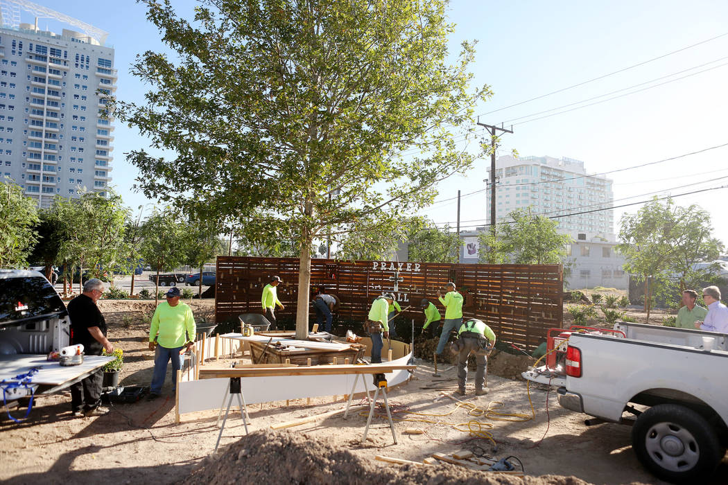 The memorial garden donated by Stone Rose Landscape is planted on East Charleston Blvd. and South Casino Center Blvd. in Las Vegas, Thursday, Oct. 5, 2017. Elizabeth Brumley Las Vegas Review-Journ ...